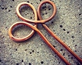 Hammered Copper Spiral Hair Fork Hairpin Barrette, hammeredhair fork, metal hair pin, hair stick, hair clip, hair accessories, woman