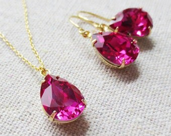 Swarovski Fuchsia Teardrop Crystal Rose Gold Necklace Dangling Earrings Set Bridal Jewelry Wedding Necklace Bridesmaids Gifts, Tear Pendant