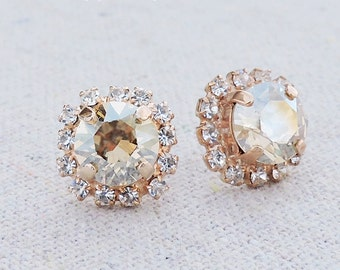 Swarovski Champagne Sparkle Brilliant Diamond Cut Crystal Faux Diamond Pave Halo Rose Gold Bridal Post Earrings Wedding Bridesmaids Gifts