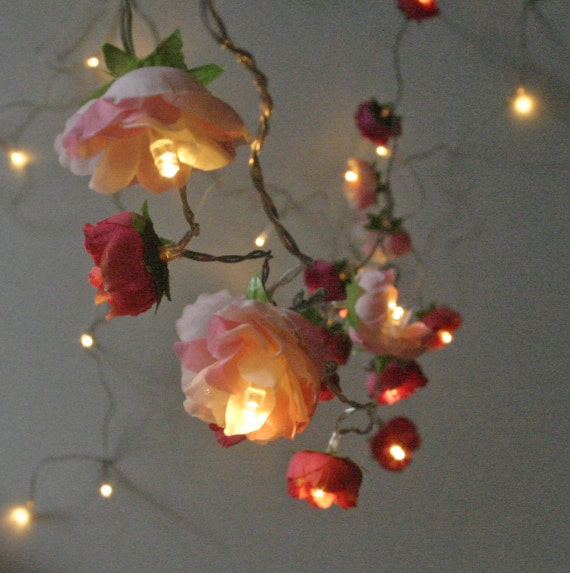 How To String Lights On A Christmas Tree Pinterest : Bohemian Garden Mixed Rose Fairy Lights Pretty Flower String Lighting in Red and Pinks