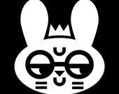 "Wry Rabbit with Glasses Art Print, Funny Prince or Princess Rabbit, Kawaii Bunny Black and White 12""x12"" Square Print"