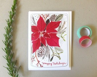 SALE - Greeting Card - Blank Christmas Card - Holiday Card - Christmas Card - Poinsettia Card - Happy Holidays Card - Poinsettia Holidays