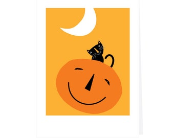 halloween greeting card small black cat on jack o lantern bright yellow background