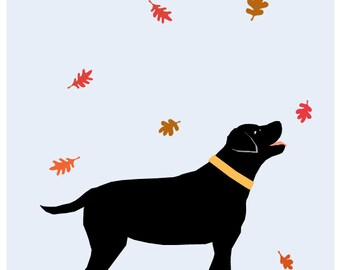 Black Lab in Autumn Original Illustration matted in 11 x 14 inch white mat