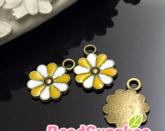 CH-EX-03142SYW - Antique brass, cutie daisy, sunlight yellow and white, 6 pcs