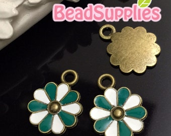 CH-EX-03142TGW - Antique brass, cutie daisy, teal green and white, 6 pcs