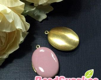 CH-EX-08031DP -  Nickel-free, Color epoxy,  Oval locket (S), dusty pink , 2 pcs