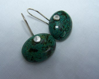 Chrysocolla  smooth oval,  sterling silver earwire, earrings
