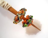 Orange and green Handmade glass whorl, cherry spindle, one whorl, pair, or spindle set, Medieval inspired bead, light weight spinning