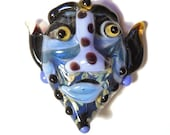 Periwinkle Blue Mask Necklace, Handmade Lampwork glass bead, 'The Professor', face pendant, Halloween amulet, focal bead, glassbead, SRAJD