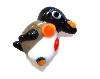 Pengiun bead, handmade lampwork glass little bird pendant- black and white animal necklace or focal bead- SRAJD, Isinglass Design, L Ament