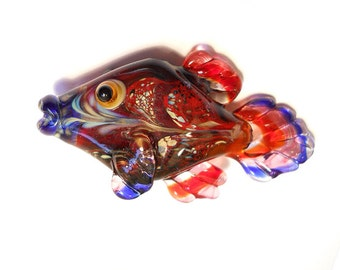 Red & blue Glass fish necklace, Lampwork Glass Beads, handmade focal bead, ocean bead, jewelry supplies, SRAJD, CGGE
