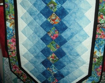 Gorgeous Tablerunner in blue, black, and white with butterfly accents