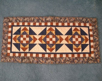 Blue, gold, rust tablerunner