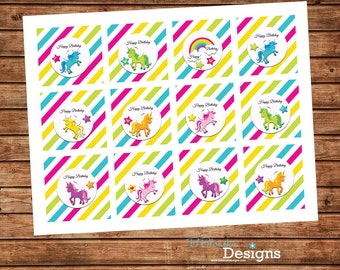 Unicorns and Rainbows Printable Cupcake toppers or favor tags - instant download