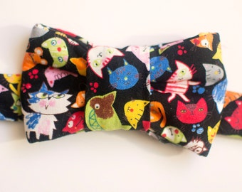 Cartoon Cat Print Bow Tie for Cats
