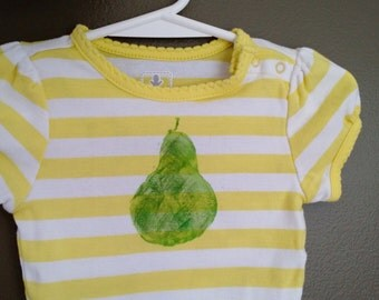 Hand-stamped pear onesie, citron yellow stripes