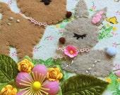 Embroidered Art Hoop - Basil and Caramel Fawn and Bunny Nursery Hoop