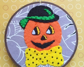 Embroidered Art Hoop - Jack Pumpkin