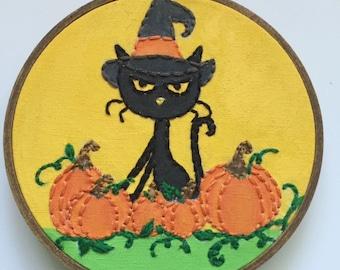 Embroidered Art Hoop - Abracadabra Cat