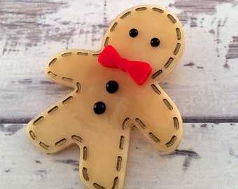 Gingerbread Man Brooch Christmas Brooch Gingerbread Pin Christmas Jewelry Holiday Brooch Holiday Jewelry Stocking Stuffer Gingerbread Boy