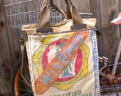 Wisbred Seed Corn- Wisconsin -  Americana Vintage Seed Feed Sack Book Tote W- OOAK Canvas & Leather Tote .. Selina Vaughan