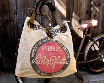 Lester Pfister Hybrids - El Paso Illinois - Open Tote - Americana OOAK Canvas & Leather Tote W... Selina Vaughan Studios