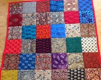 "bAby quilt, Patchwork quilt, handmade in California, Indian block prints, kalamkari, 45"" X 45"""
