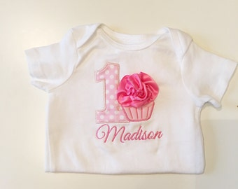 Pretty in Pink 1st Birthday Onesie- Cupcake Themed- Personalized Baby Girl