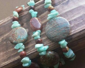 Aqua Brick Beach Necklace