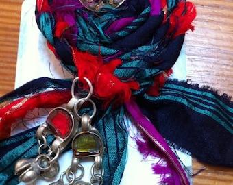 Bohemian sari silk brooch pin