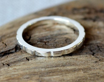 Rounded Cog Ring in Sterling Silver Handmade 2mm Wide Band Ring with Unique Textured Finish