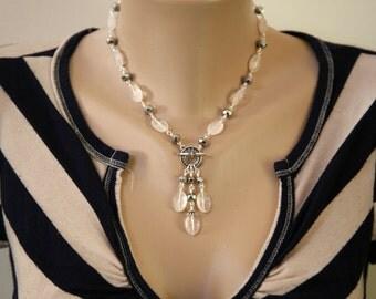 Light Pastel Pink Faceted Quartz and Silver Rhondelle Front Closure Dangling Gemstone Necklace Set