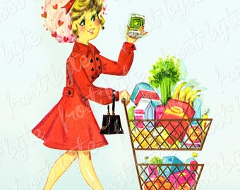 Vintage Housewife Shopping for Groceries Image - instant download digital file - supermarket cart supermom 60s 70s retro