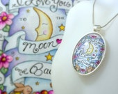 Art Gallery Jewelry Collection / I Love You to the Moon and Back / 30x40mm Silver Oval Pendant