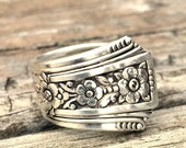 Vintage Silver Spoon Ring Size 4 Fortune Pattern