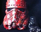 Red Steampunk Stormtrooper Helmet Star Wars Design A Vinyl helmet 8 inch