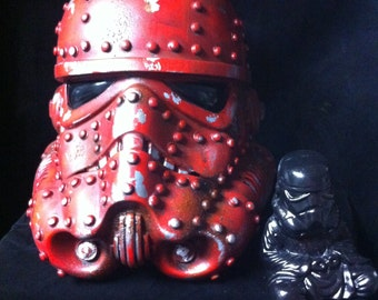 Red Steampunk Stormtrooper Helmet Star Wars Design A Vinyl helmet 8 inch