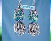 Weeping Willow Tree Earrings Charm with Mini Chandelier in Swarovski Crystals Green Blue Choose Colors Dangle Magical Healing Herb Garden
