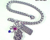 US Army Bracelet 316 Stainless Steel Chain & Charm Add Swarovski Crystals Personalized Jewelry Love My Soldier Wife Mom Dad Red White Blue