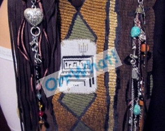 Beaded Piano Tapestry & Leather Purse Music Tote Handbag Bead Art Musician Keyboard Band Turquoise Gemstones Charms Notes Clef Ipod