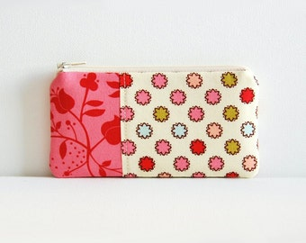 Coin Purse, Small Zipper Pouch, Cute Pink Pouch, Women and Teens, Vintage Dots