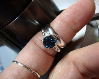 wedding BAND for London Blue Topaz 2 ct ring in sterling silver -