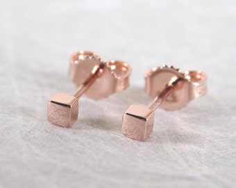 2.5mm Tiny Rose Gold Earrings Solid 14k Stud Earrings Square Studs by Susan Sarantos