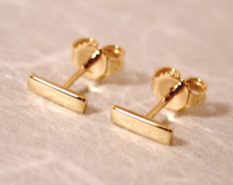 7mm x 2mm 18k Gold Earrings Modern Jewelry Yellow Gold Bar Stud Earrings Fine Gold Jewelry by Susan Sarantos