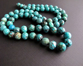 Faceted Turquoise Necklace, Hand Knotted Jewelry, Beaded Boho Necklace
