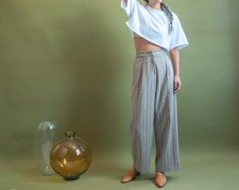 oatmeal heather pinstriped cotton trousers / wide leg pants / high waist trousers / s / 1700t / B15