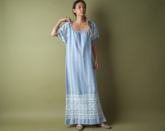 woven ethnic embroidered striped hippie maxi dress / s / m / 036d / B2