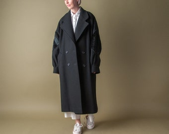 black lake black oversized wool winter coat / fur elbow patch coat / s / m / 817o