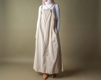 coming soon - cotton beige jumper dress / overall dress / maxi dress / m / l / 1761d